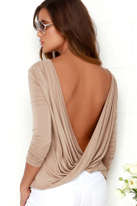 Chic light brown top long sleeve top open back top for Long sleeve open shirt
