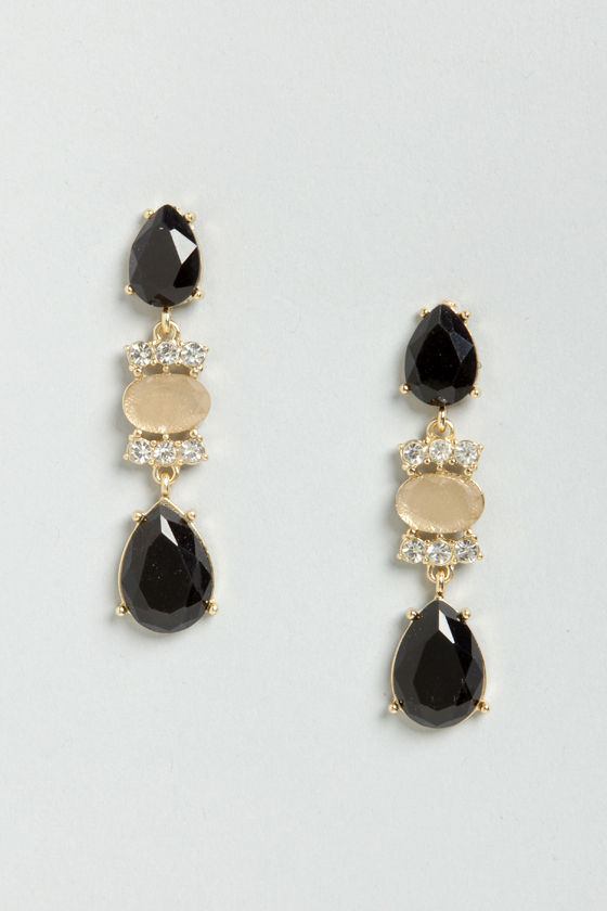 Let's Say I Dewdrop Black Rhinestone Earrings at Lulus.com!