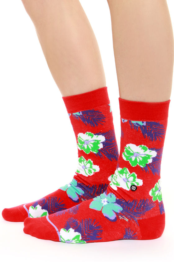 Stance Island Fever Red Floral Print Socks at Lulus.com!