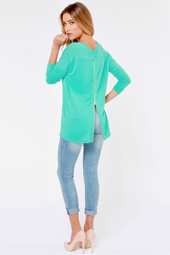 Zip to My Lou Teal Sweater Top at Lulus.com!