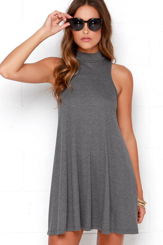69e7aeac9f5d2 Cute Grey Dress - Swing Dress - Mock Neck Dress - $38.00