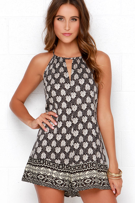 Swaying Willow Cream and Black Print Romper