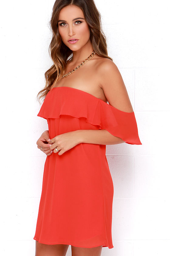 Bright Red Dress - Red Chiffon Dress - Red Off-the-Shoulder Dress ...