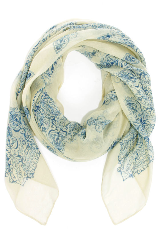 Hazy Days Light Sage and Blue Print Scarf at Lulus.com!
