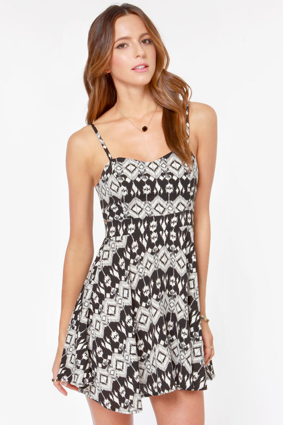 Lucy Love Felicity Ivory and Black Print Dress at Lulus.com!