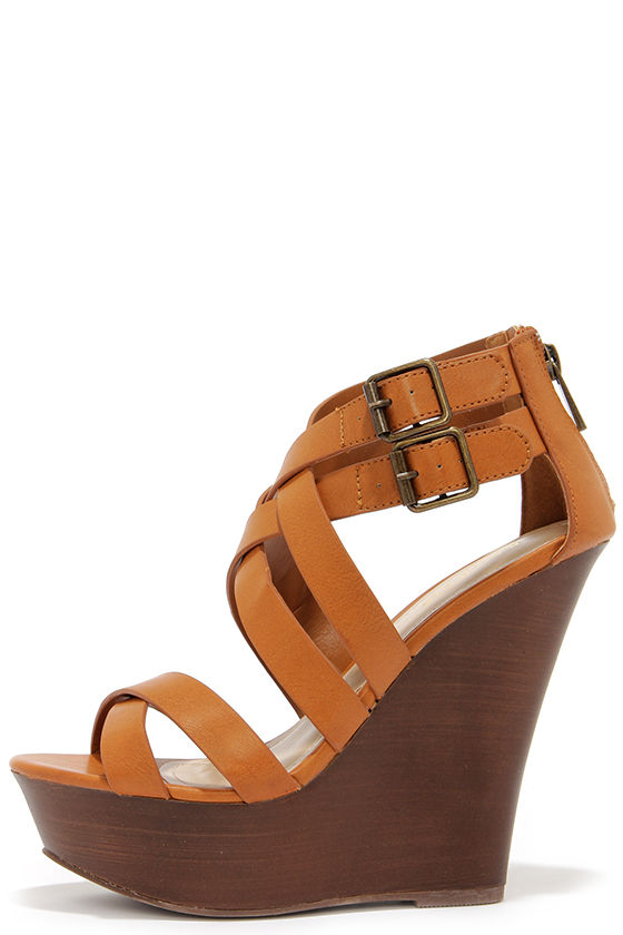 Cute Tan Wedges - Caged Heels - Wedge Sandals - $36.00