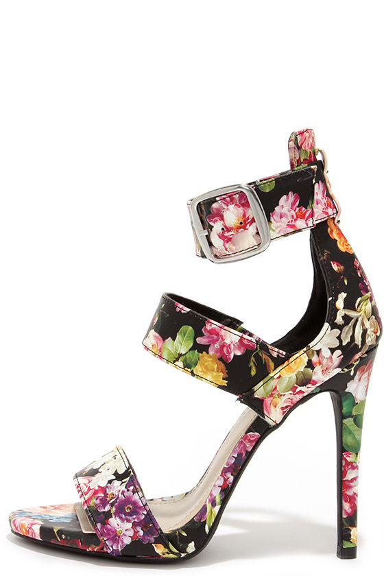 Cute Black Heels Floral Print Heels Dress Sandals 36 00