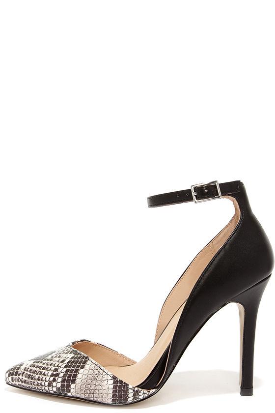 f954a22dcb40 Cute Snakeskin Heels - D Orsay Heels - Ankle Strap Heels -  39.00