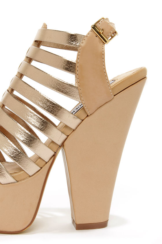 Steve Madden Glendael Natural Multi Metallic Platform Sandals at Lulus.com!