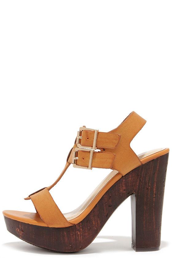 8efade7924e Cute Tan Sandals - Platform Sandals - High Heel Sandals -  36.00