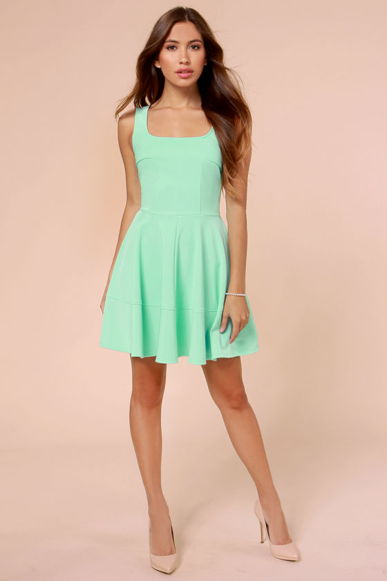 Pretty Mint Dress - Skater Dress - Mint Green Dress - $42.00