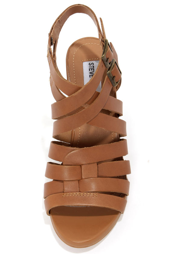 Steve Madden Venis Natural Leather Strappy Wedge Sandals at Lulus.com!