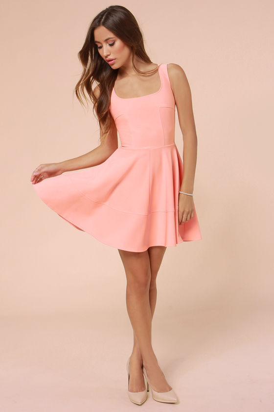 Pretty Peach Dress - Skater Dress - Pink Dress - $42.00