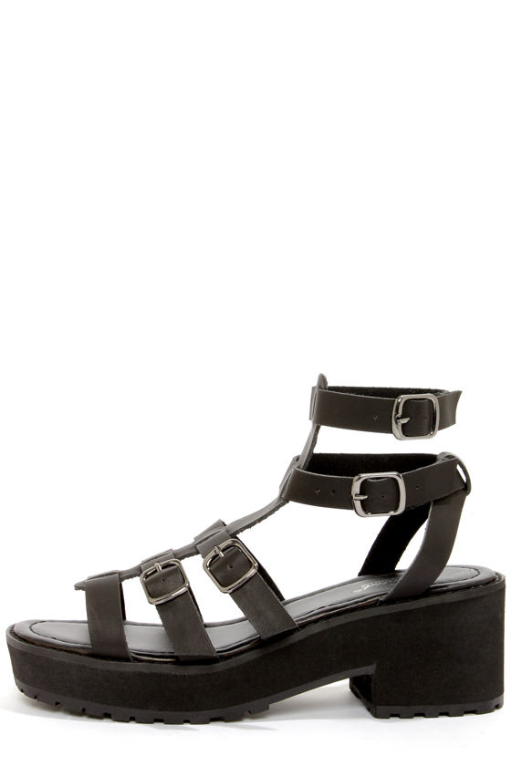 Wanted Neptune Black Strappy Platform Sandals at Lulus.com!