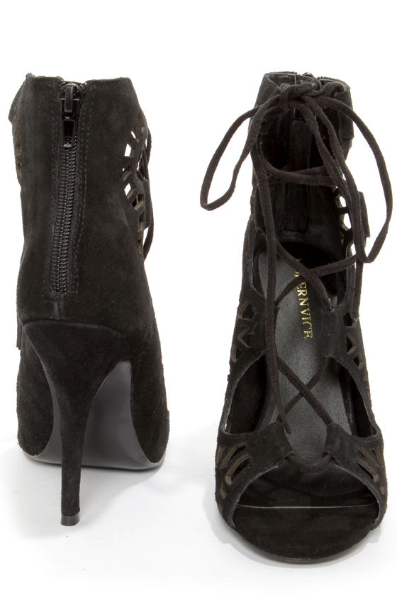 Modern Vice Ghillie Black Suede Cutout Lace-Up Booties at Lulus.com!