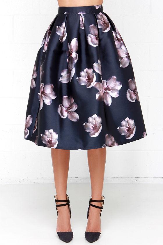 midi skirt floral print skirt navy blue skirt