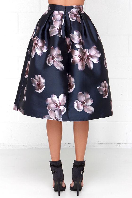 Elegant Midi Skirt - Floral Print Skirt - Navy Blue Skirt - $48.00