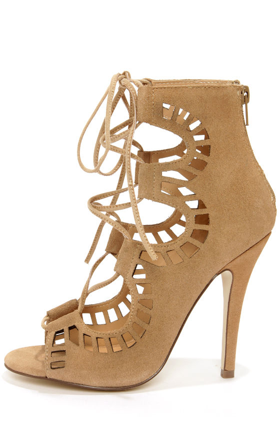 Cute Nude Booties - Suede Booties - Peep Toe Heels - Lace Up ...