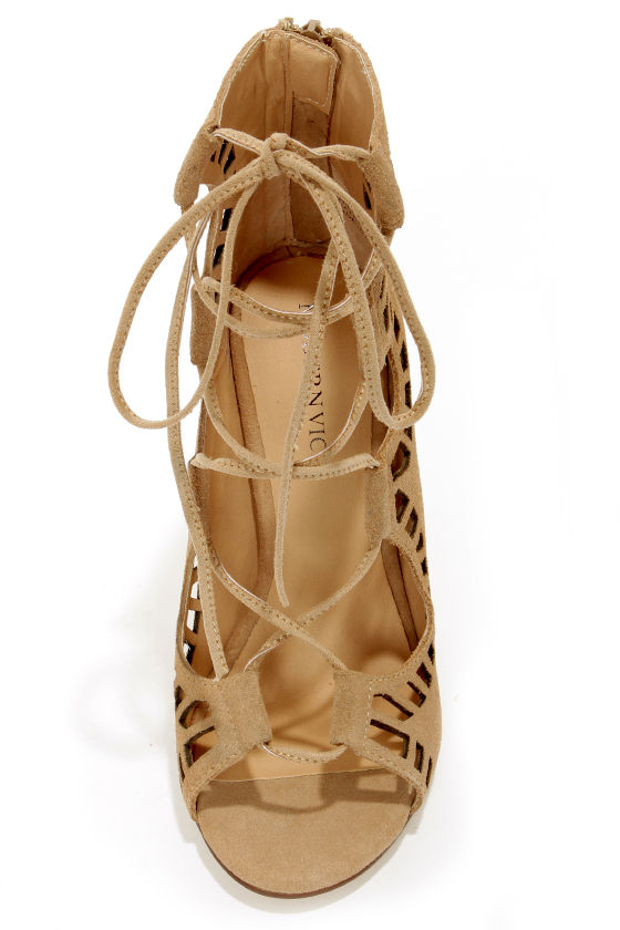 Modern Vice Ghillie Nude Suede Cutout Lace-Up Booties at Lulus.com!