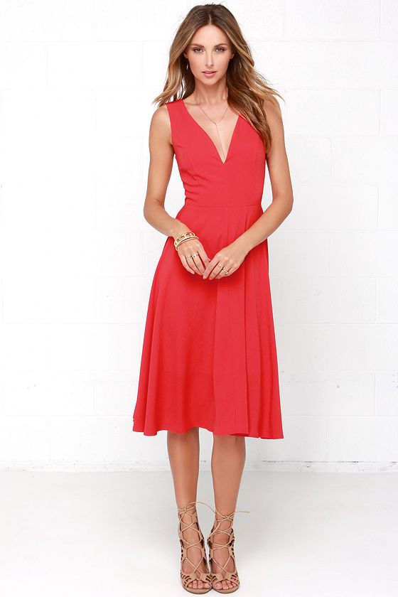 2deff4dd69 Lovely Red Dress - Midi Dress - Sleeveless Dress - $49.00