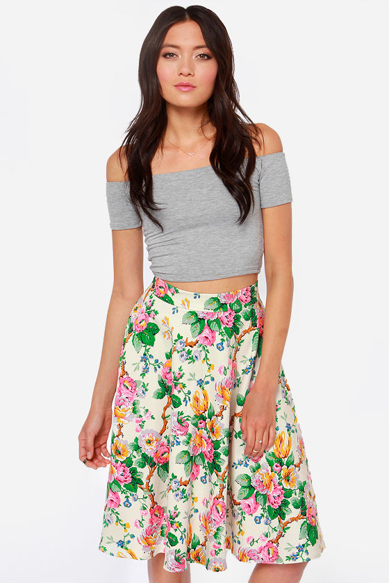 Beautiful Floral Print Skirt - Cream Skirt - Midi Skirt - High ...