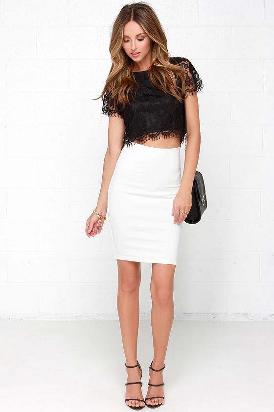 cefa518be3bc62 Pretty Black Crop Top - Lace Crop Top - Short Sleeve Lace Top - $34.00
