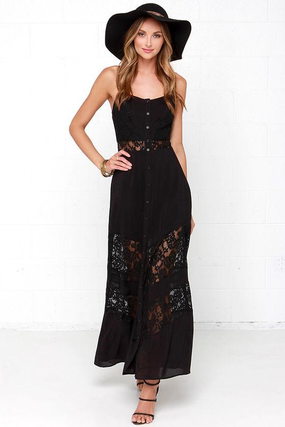 Black maxi dresses for women lace