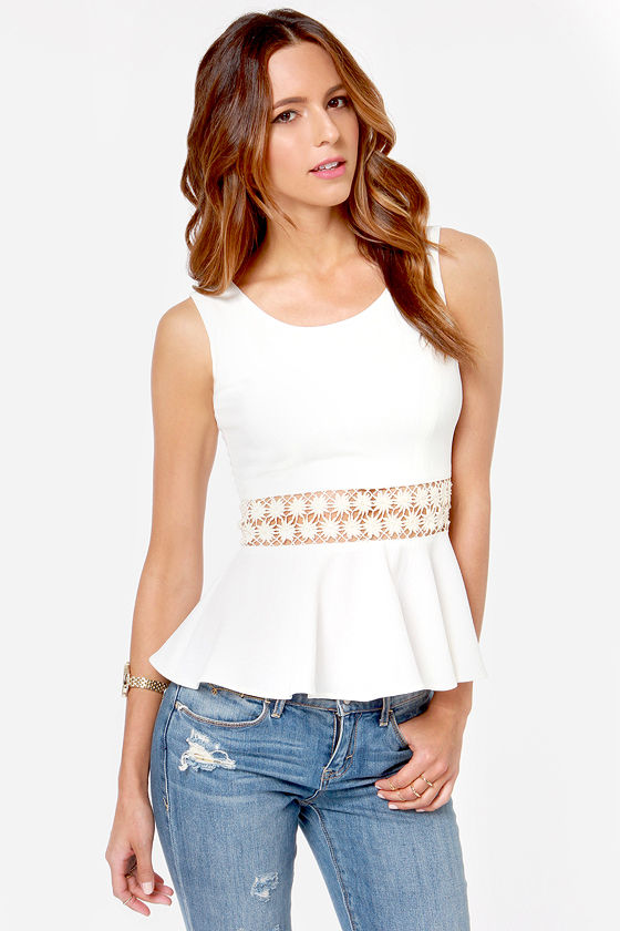 Encircle of Love Ivory Lace Peplum Top at Lulus.com!