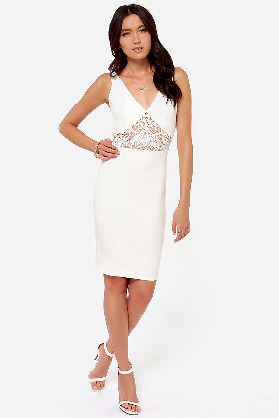 Lady Lovestruck Backless Ivory Lace Dress at Lulus.com!