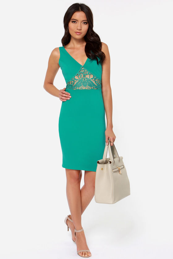 Lady Lovestruck Backless Teal Lace Dress at Lulus.com!