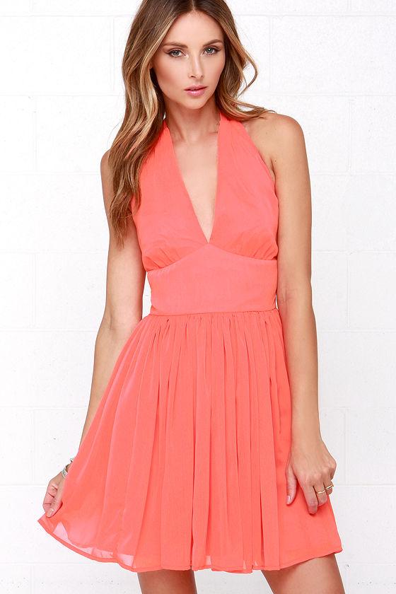 16368f0b0d69 BB Dakota Amrei Dress - Bright Coral Dress - Halter Dress -  79.00