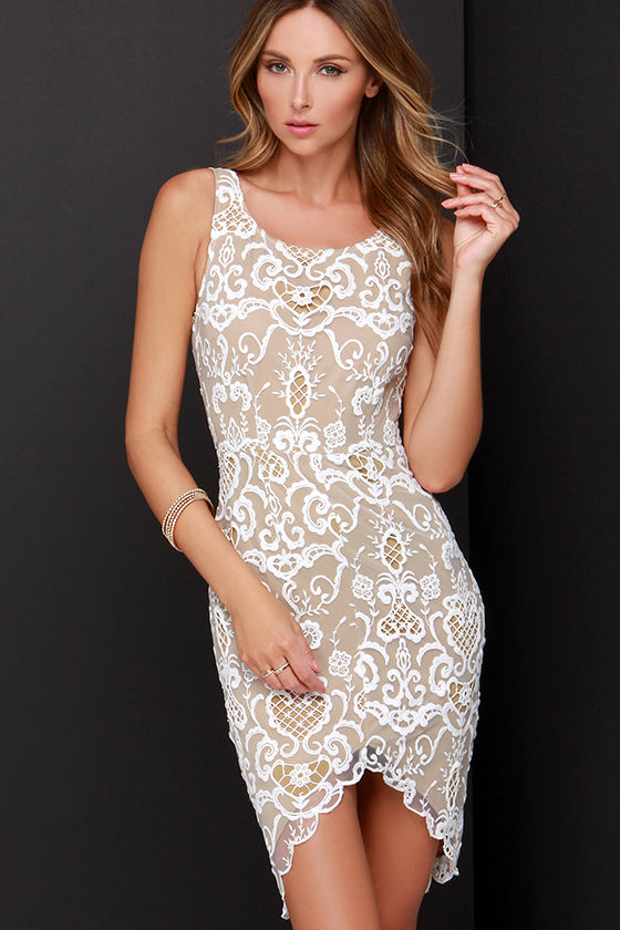 Ladakh Porcelain Lace Dress - Beige and Ivory Dress - Ivory Lace ...