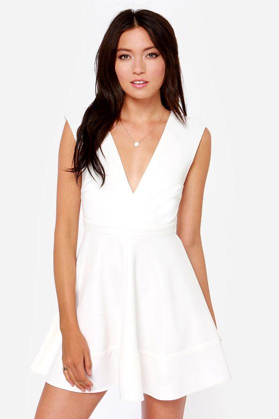 Cute Ivory Dress - Skater Dress - V Neck Dress - White Dress - $49.00