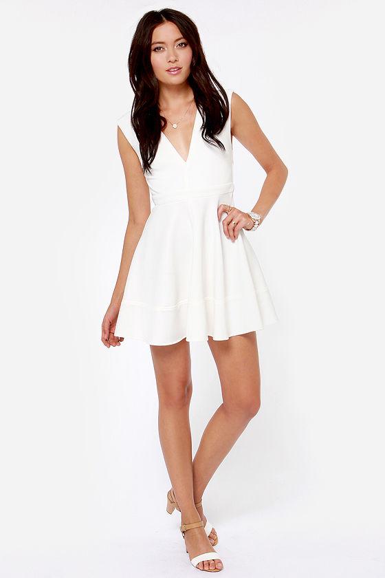 2ccca0c147 Cute Ivory Dress - Skater Dress - V Neck Dress - White Dress -  49.00