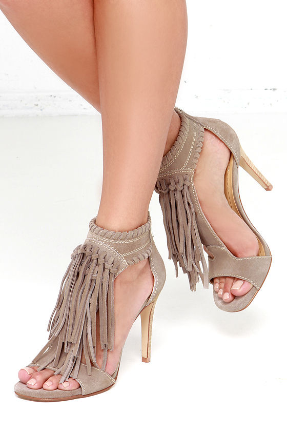 Cute Suede Heels Fringe Sandals High Heel Sandals 99 00