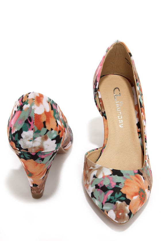cbe52e22584c Pretty Floral Heels - D Orsay Heels - Kitten Heels - Floral Pumps ...