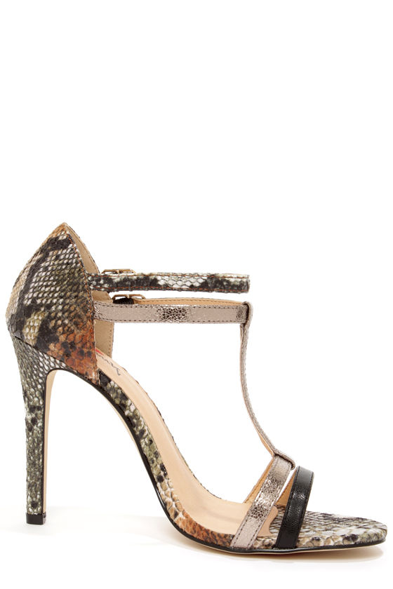 Luichiny Day Glow Coral, Bronze, and Black Snake T-Strap Heels at Lulus.com!