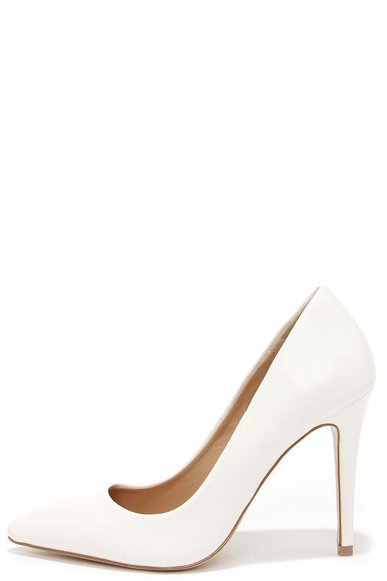 3efc086c90d Pretty White Heels - Pointed Pumps - Ankle Strap Heels -  35.00