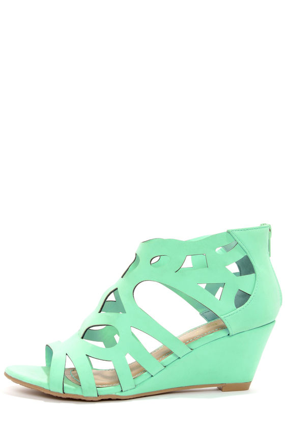 Cute Mint Green Shoes - Cage Wedges - Cutout Wedges - $34.00