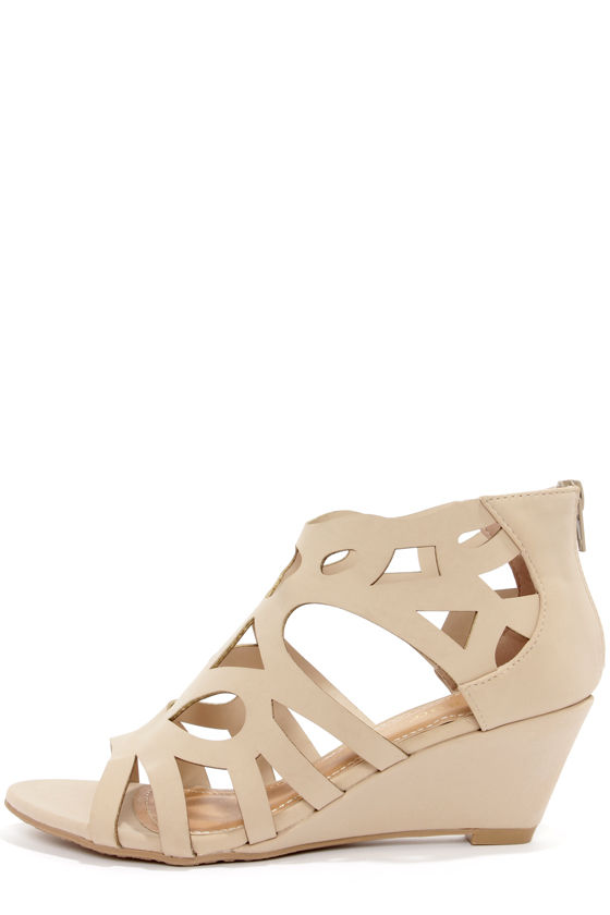 91c60f1635 Cute Nude Shoes - Cage Wedges - Cutout Wedges - $34.00