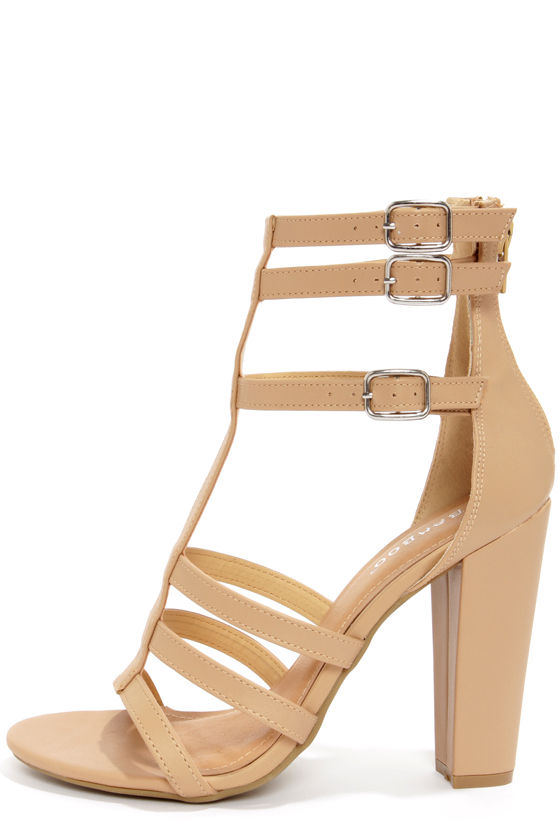 Bamboo Senza 07 Sand Strappy Peep Toe Heels - $39 : Fashion High ...