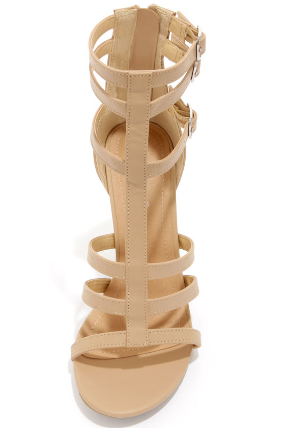 Bamboo Senza 07 Sand Strappy Peep Toe Heels at Lulus.com!