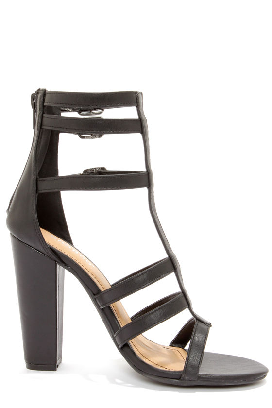 Bamboo Senza 07 Black Strappy Peep Toe Heels at Lulus.com!