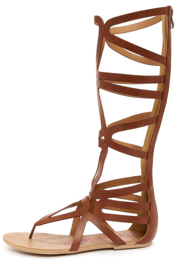 Heart Soul Cleopatra Cognac Tall Caged Gladiator Sandals at Lulus.com!