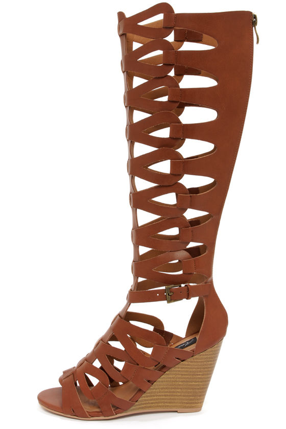 Cute Gladiator Sandals - Wedge Sandals - Caged Gladiator Sandals ...