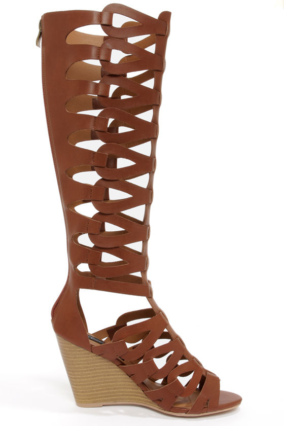 Heart Soul Anglica Cognac Tall Caged Wedge Gladiator Sandals at Lulus.com!