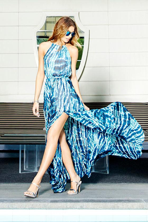 05508ed3b7 Pretty Blue Dress - Print Dress - Maxi Dress -  96.00