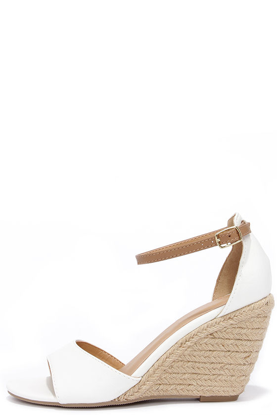 - Cute White Wedges - Espadrille Wedges - Wedge Sandals - $27.00