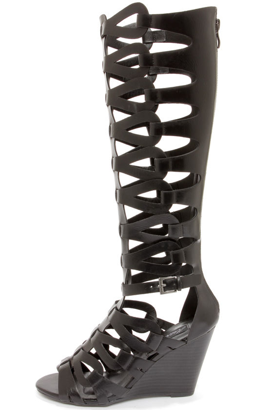 coupon code running shoes official shop Heart Soul Anglica Black Tall Caged Wedge Gladiator Sandals