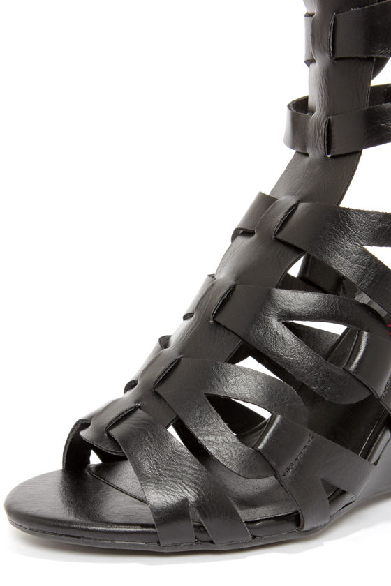 Heart Soul Anglica Black Tall Caged Wedge Gladiator Sandals at Lulus.com!